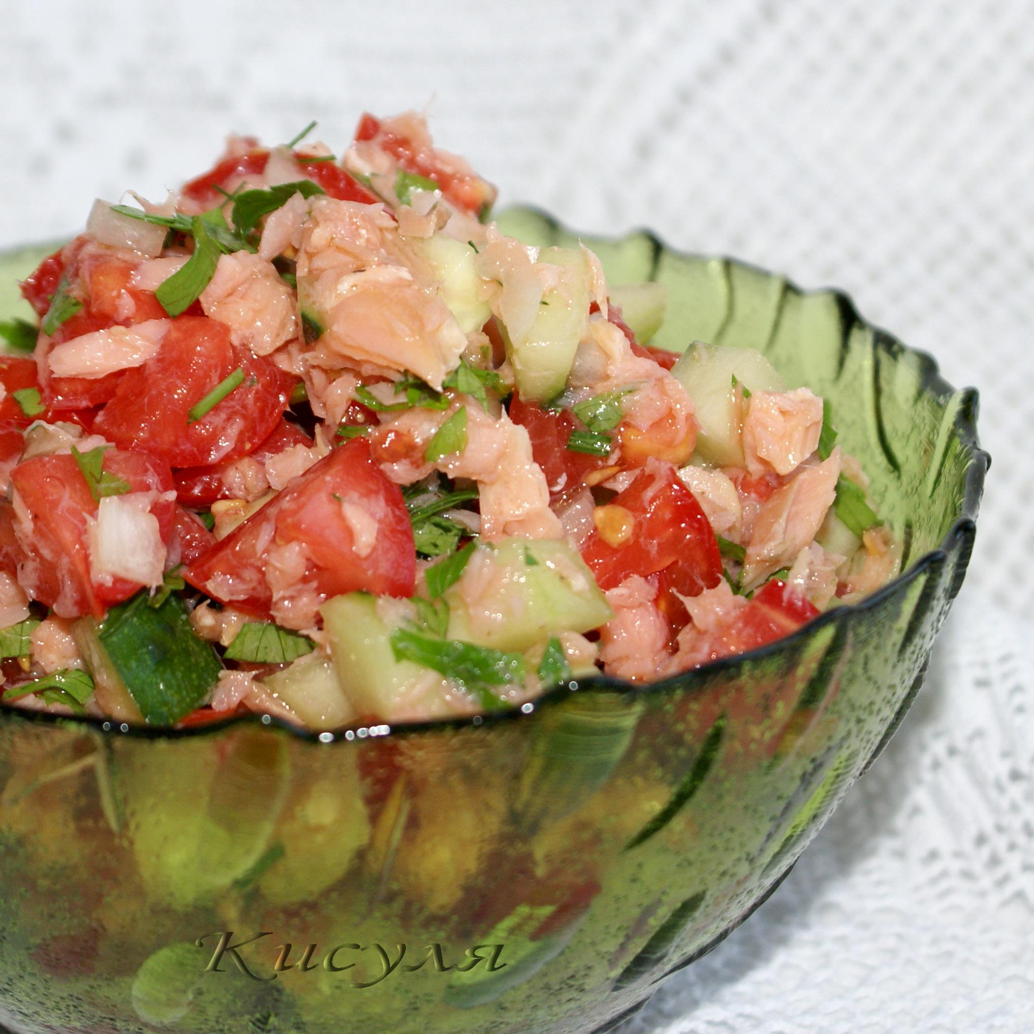 Салат с копченой горбушей