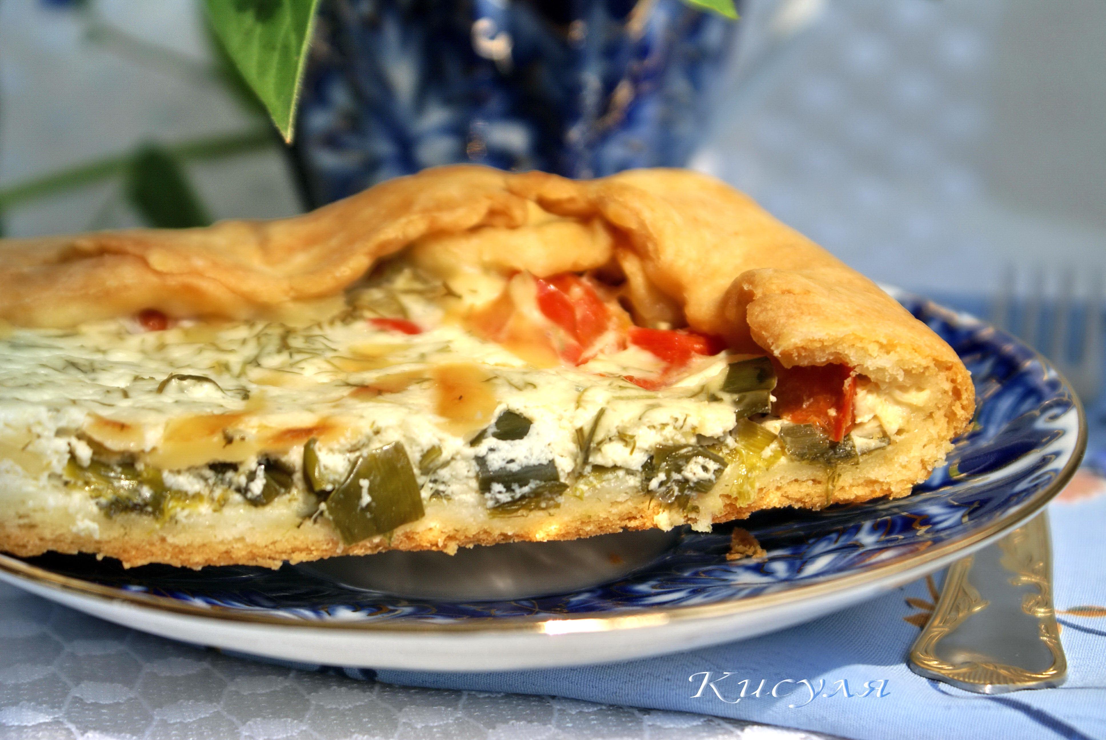 пирог с сыром и зеленым луком фото части